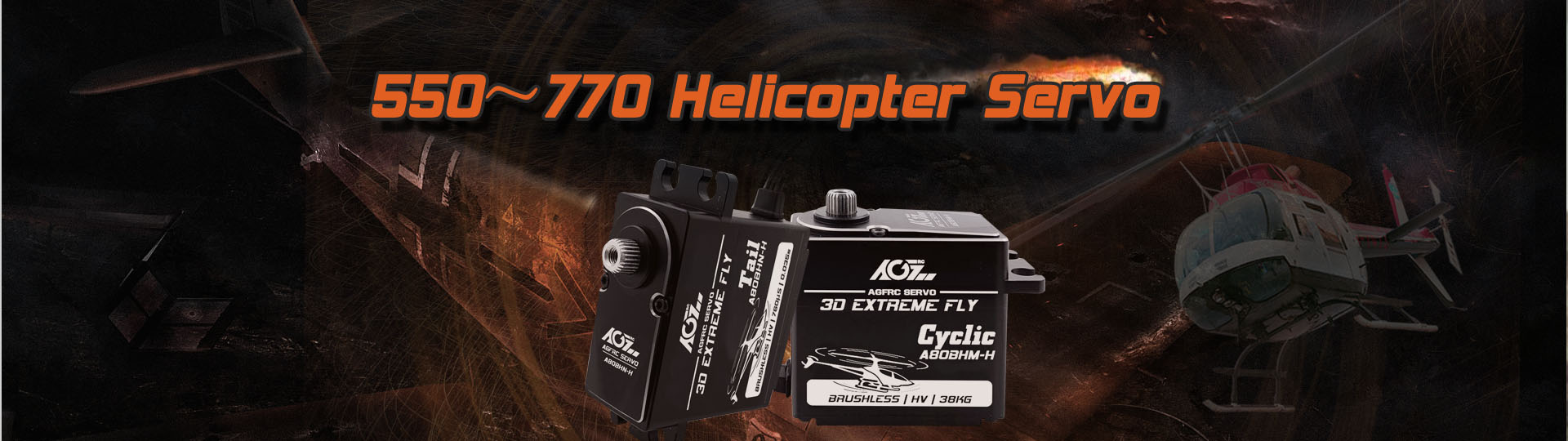 AGFrc A80BHM-H 38KG Super Torque Cyclic Servo and A80BHN-H High Speed Tail Servo for 450-770 Class RC Helicopter