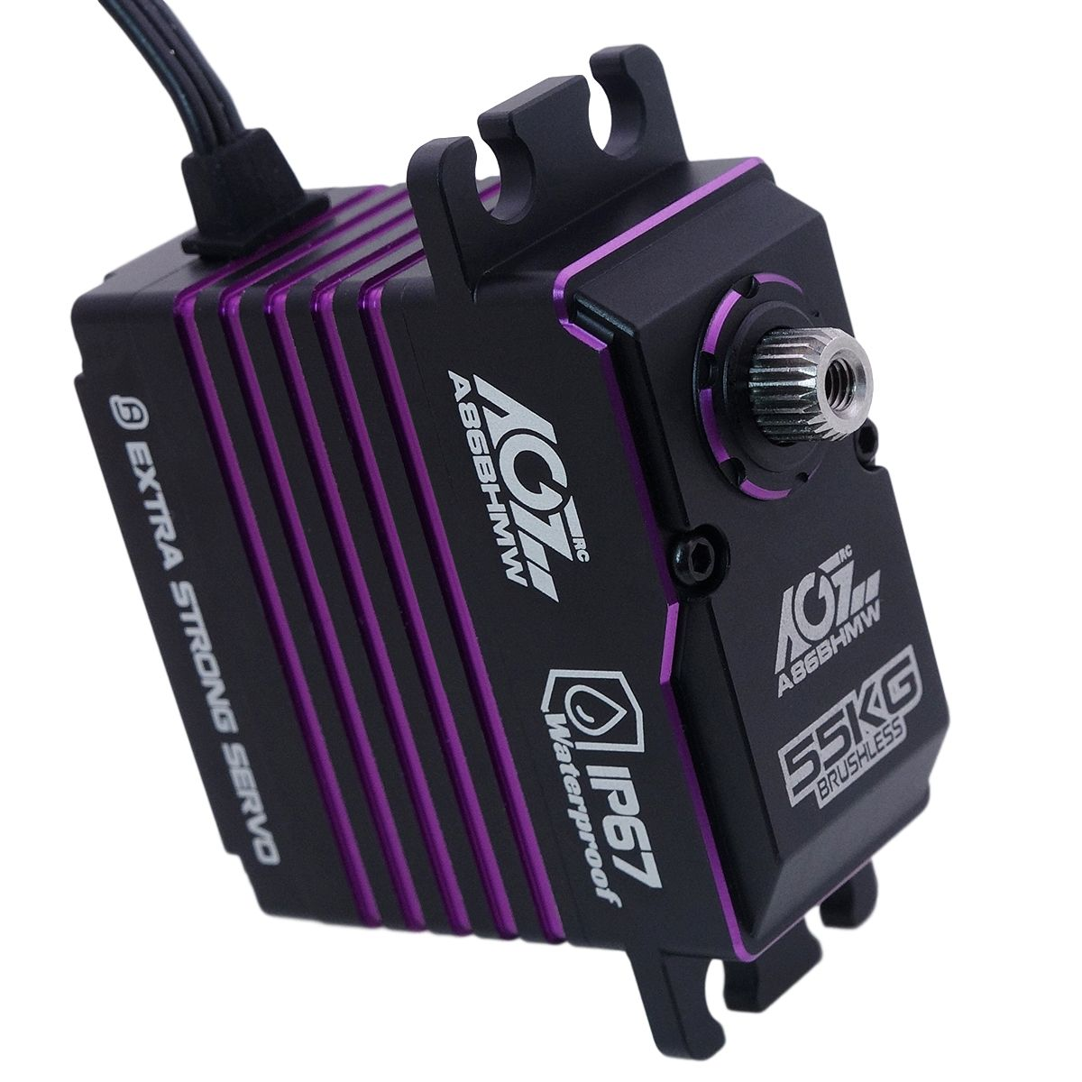 AGFRC A86BHMW Reliable 55KG Metal Gears Fully Waterproof Brushless Purple Extended Standard Servo For 1/8th Scale Buggies