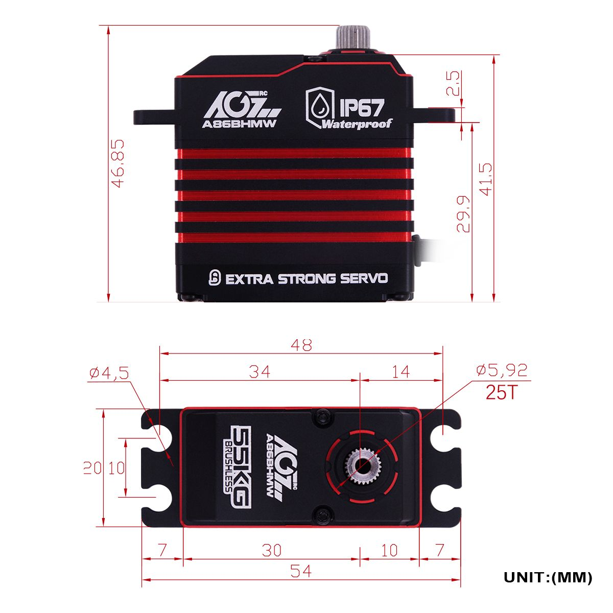 A86BHMW Fast Cooling Case Programmable Waterproof 0.110Sec 55KG RC Buggy Servo Winch