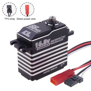 A86BUMW 16.8V HV 66KG 0.100Sec High Torque Magnetic Waterproof Brushless Digital 4S Monster Servo Motor for 1/8 Scale RC Models